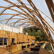 View of the canopy at the Waitomo Caves architecture, daylighting, outdoor structure, real estate, roof, structure, wood, brown, white