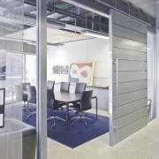 Interior view of offices which features glass cavity floor, furniture, interior design, office, product design, gray