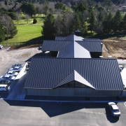 View of the roofing by Roofing Industries - automotive exterior, roof, transport, vehicle, blue, gray