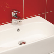 View of this contemporary bathroom - View of bathroom, bathroom sink, bidet, ceramic, plumbing fixture, product, product design, sink, tap, toilet seat, white, red