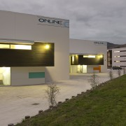 View of a logistics centre designed by Cymon architecture, real estate, gray, brown