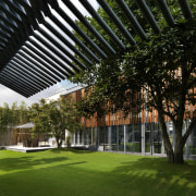 Exterior view of home with timber louvres, grassed architecture, campus, corporate headquarters, estate, facade, garden, grass, headquarters, house, lawn, mixed use, plant, tree, black, brown
