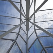 View of the ETFE canopy of Eden Park architecture, building, daylighting, daytime, glass, line, sky, structure, symmetry, gray