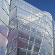 View of the ETFE canopy of Eden Park architecture, building, commercial building, corporate headquarters, daylighting, daytime, facade, headquarters, line, sky, structure, gray, blue