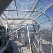 View of the ETFE canopy of Eden Park architecture, building, daylighting, fixed link, line, sky, structure, tourist attraction, gray