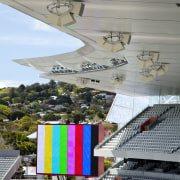 View of sound equipment at Eden Park which architecture, sport venue, structure, gray