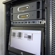 View of sound equipment at Eden Park which electronic device, electronics, technology, black