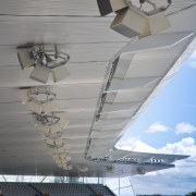 View of sound equipment at Eden Park which aerospace engineering, aircraft, airplane, architecture, atmosphere of earth, aviation, daylighting, flap, sky, water, wing, gray