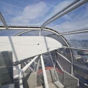 View of the cantilevered roof of the South architecture, building, daylighting, fixed link, sky, structure, gray