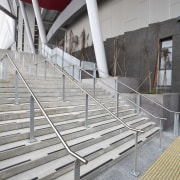 View of stainless steel handrails at the newly architecture, building, daylighting, handrail, line, material, stairs, steel, structure, gray