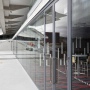 View of fire-rated glazing at the newly upgraded architecture, building, daylighting, facade, glass, metropolitan area, structure, window, gray