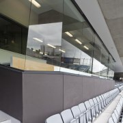 View of fire-rated glazing at the newly upgraded architecture, daylighting, glass, interior design, product design, gray