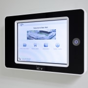 View of commercial security control at Eden Park display device, electronics, multimedia, product, product design, screen, technology, white, gray
