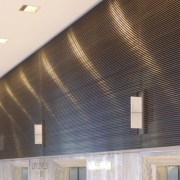View of brass walls fabricated by Craft Metals architecture, ceiling, daylighting, interior design, lighting, lobby, wall, wood