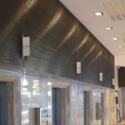 View of brass walls fabricated by Craft Metals architecture, ceiling, daylighting, interior design, lighting, lobby, gray