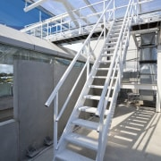 View of the roof of the south stand stairs, steel, structure, gray