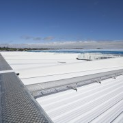 View of the roof of the south stand cloud, roof, sea, sky, water, white