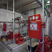 View of fire prevention and suppression systems at factory, fire department, industry, machine, manufacturing, gray, black