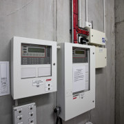 View of fire prevention and suppression systems at circuit breaker, enclosure, machine, product, system, gray
