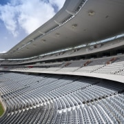View of the rebuilt South Stand at Eden arena, atmosphere of earth, line, sky, soccer specific stadium, sport venue, stadium, structure, gray, black