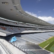 View of the rebuilt South Stand at Eden architecture, arena, atmosphere of earth, daytime, line, sky, sport venue, stadium, structure, gray