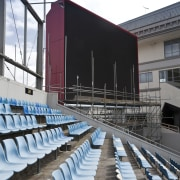 View of the stands at Eden Park which architecture, building, sport venue, structure, white, black