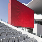 View of the stands at Eden Park which architecture, auditorium, building, structure, gray