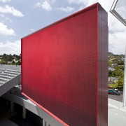 View of the stands at Eden Park which architecture, building, daylighting, facade, sky, white, red