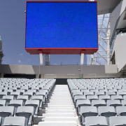 View of the stands at Eden Park which auditorium, blue, structure, technology, blue, gray