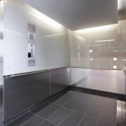 Schindler Lifts supplied and installed siz large capacity architecture, ceiling, daylighting, floor, flooring, glass, interior design, light, gray, black