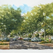 Conceptual drawings of the Tahuna Ridge designed by neighbourhood, paint, painting, plant, tree, watercolor paint, green, white