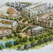 Conceptual drawings of the Tahuna Ridge designed by bird's eye view, mixed use, residential area, suburb, urban design, white