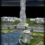 Conceptual image of SKill City in Bangalore designed architecture, landmark, reflection, structure, tower, tree, black