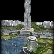 Conceptual image of SKill City in Bangalore designed architecture, landmark, memorial, monument, black