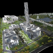 Conceptual image of SKill City in Bangalore designed aerial photography, architecture, bird's eye view, metropolis, mixed use, suburb, urban design, black