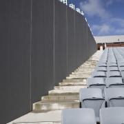 view of Eden Park which features precast concrete architecture, building, sky, structure, wall, gray, black