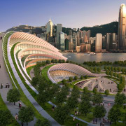 Conceptual image of the West Kowloon Terminus which aerial photography, bird's eye view, city, cityscape, daytime, landmark, metropolis, metropolitan area, mixed use, residential area, sky, skyline, skyscraper, urban area, urban design, brown