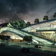 Conceptual image of the West Kowloon Terminus which architecture, building, car, city, cityscape, fixed link, junction, landmark, metropolis, metropolitan area, mixed use, overpass, sky, skyway, structure, urban area, black