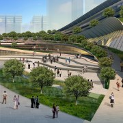 Conceptual image of the West Kowloon Terminus which architecture, city, metropolis, metropolitan area, mixed use, plaza, skyway, structure, tree, urban area, urban design, gray, brown