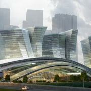 Conceptual image of the West Kowloon Terminus which architecture, building, city, cityscape, commercial building, condominium, corporate headquarters, daytime, downtown, fixed link, headquarters, landmark, metropolis, metropolitan area, mixed use, overpass, sky, skyscraper, skyway, tower block, urban area, gray