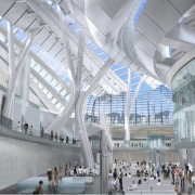 Conceptual image of the West Kowloon Terminus which airport, airport terminal, architecture, building, convention center, daylighting, metropolis, metropolitan area, mixed use, shopping mall, structure, transport hub, gray