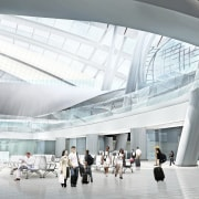 Conceptual image of the West Kowloon Terminus which airport terminal, architecture, building, ceiling, convention center, daylighting, metropolitan area, structure, tourist attraction, white