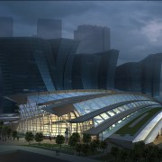 Conceptual image of the West Kowloon Terminus which architecture, building, convention center, corporate headquarters, headquarters, landmark, metropolis, metropolitan area, mixed use, performing arts center, sky, sport venue, structure, blue, black