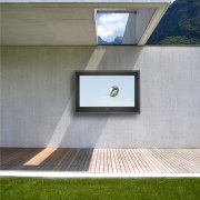 View of outdoor flat screen TV from H2OTV. architecture, daylighting, facade, floor, house, window, gray