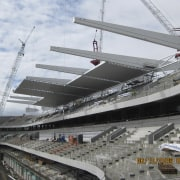 View of the cantilevered roof of the South arena, sport venue, stadium, structure, white, gray