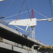 View of the cantilevered roof of the South fixed link, mast, naval architecture, structure, blue