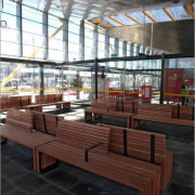 View of seating at the New Market Train architecture, bench, chair, daylighting, furniture, glass, interior design, table, wood, black