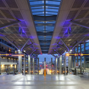 View of the upgraded New Market train station. airport terminal, architecture, building, daylighting, metropolitan area, shopping mall, structure, gray
