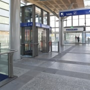 View of the upgraded New Market Station where building, metropolitan area, train station, transport, gray