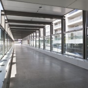 View of the corridor at the upgraded Newmarket airport terminal, building, daylighting, metropolitan area, public transport, structure, gray, white